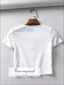 Sun-imperial Women Lace up Collar Short Sleeve Tee High Street Fashion SUN-IMPERIAL United States