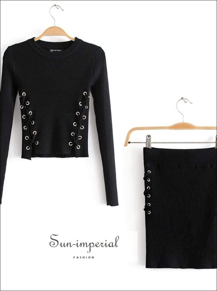 Sun-imperial Women Lace up side Crop top & Mini Skirt Set High Street Fashion