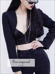 Sun-imperial Women Long Sleeve Extreme Cropped Blazer Open front Arc Hem Crop High Street SUN-IMPERIAL United States