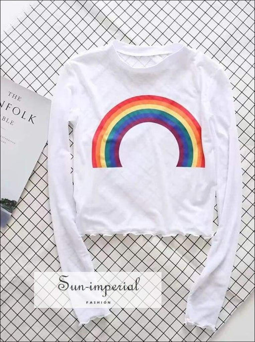 Sun-imperial Women Long Sleeve Rainbow Mesh Crop top with Lettuce Edge High Street Fashion SUN-IMPERIAL United States