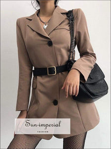Sun-imperial Women Longline Blazer with side Pockets Autumn Long Coat Outerwear High Street Fashion SUN-IMPERIAL United States