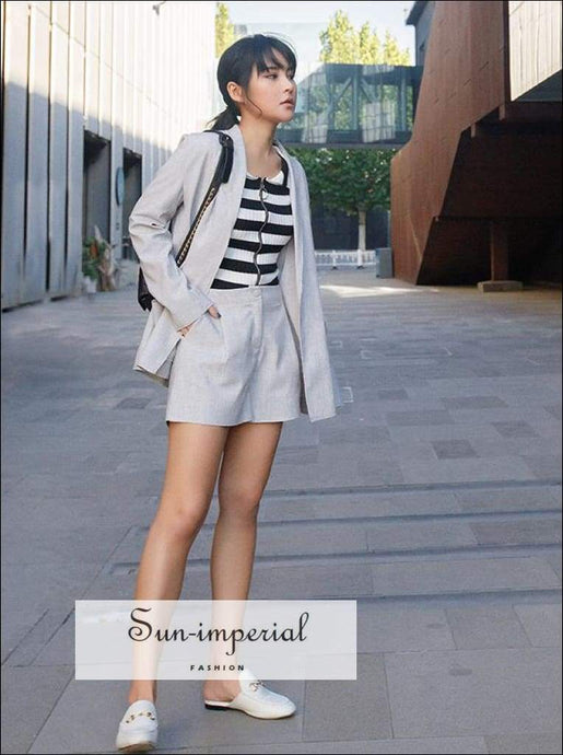 Sun-imperial Women Longline Linen Blazer Co-ord with Tailored A-line Shorts High Street Fashion