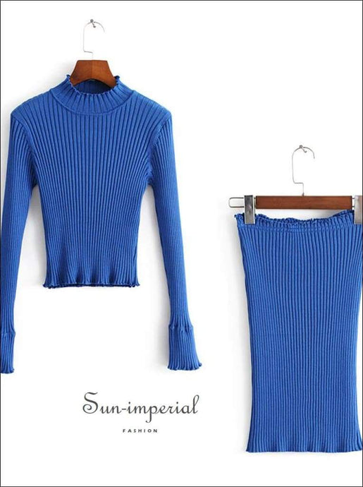 Sun-imperial Women Mock Neck Rib Knit top with Flare Sleeve and Mini Pencil Skirt High Street