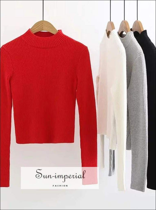 Sun-imperial Women Mock Neck Ribbed Crop Sweater Long Sleeve Ribbed Knit Crop top High Street