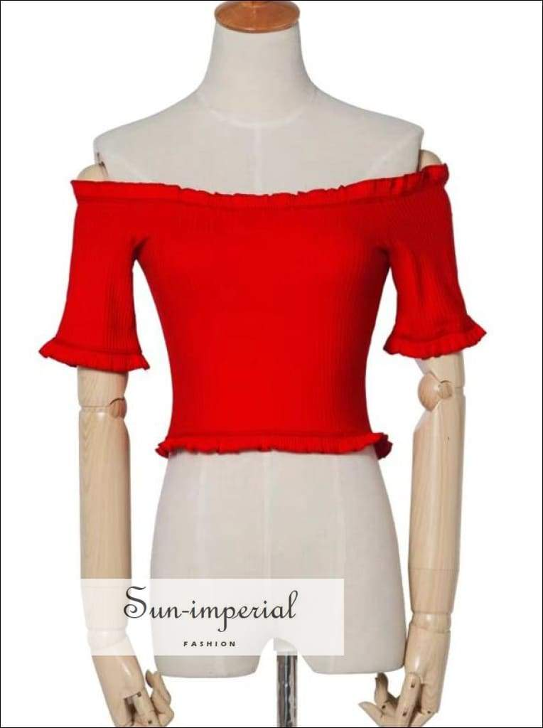 Sun-imperial Women off the Shoulder Ruffles Trim Crop Tee with Half Sleeve High Street Fashion SUN-IMPERIAL United States