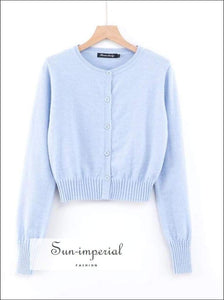 Sun-imperial Women Petite O Neck Cardigan with Ribbed Cuffs and Hem High Street Fashion