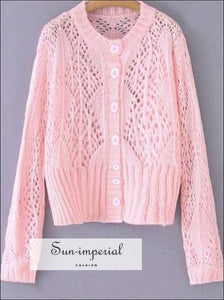 Sun-imperial Women Pink Cardigan Fall Knitted Buttoned Sweater