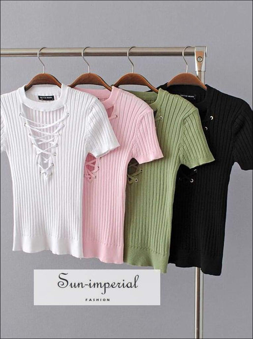 Sun-imperial Women Rib Knit Crisscross Plunging Short Sleeve Tops Lace up Rib Knit Sweater High