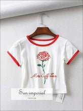 Sun-imperial Women Rose Print Fitted Crop Tee with Contrast Neck & Cuff High Street Fashion