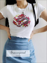 Sun-imperial Women Round Neck Dragon Totem Print Fitted Tee with Lettuce Trimming Short Sleeves SUN-IMPERIAL United States