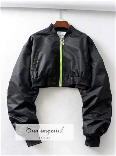 Sun-imperial Women Ruching Crop Bomber Jacket with Contrast Zip Padded Outwear High Street Fashion