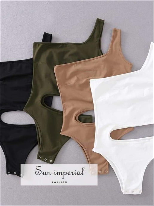 Sun-imperial Women Sexy One Shoulder Bodysuit with Cut out Waist detail High Street Fashion