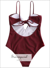 Sun-imperial Women Sexy Ribbed Keyhole Knotted Swimsuit High Waisted One-piece Swimwear Solid Color SUN-IMPERIAL United States