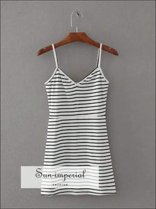 Sun-imperial Women Sexy V Neck Spaghetti Strap Mini Dress Striped Cami Dresses High Street Fashion