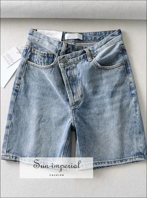 Sun-imperial Women Skew Off-center Fly Longline Denim Jeans Asymmetric Shorts with Button DENIM SHORTS, shorts, WOMEN off-center fly With