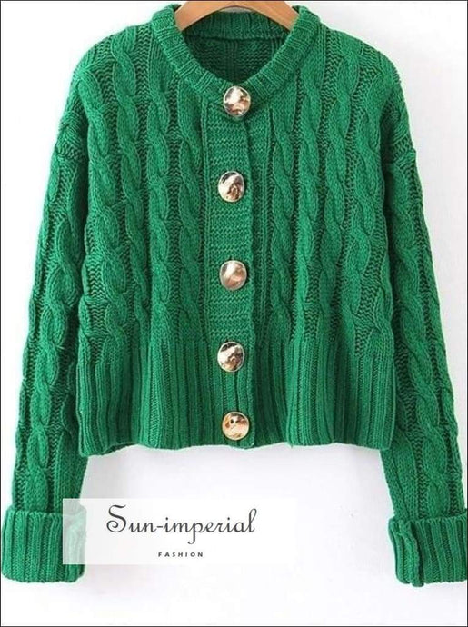 Sun-imperial Women Solid Color Sweaters Autumn Winter Long Sleeve Buttoned Cardigan Fashion