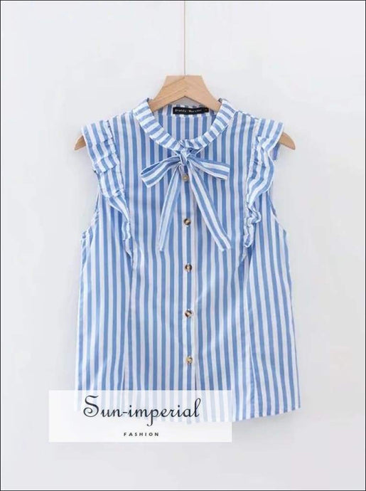 Sun-imperial Women Stripe Tie Neck Blouse with Ruffle Trims High Street Fashion