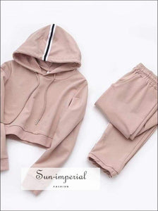 Sun-imperial Women Striped side Crop Hooded top with Drawstring Waist Pants Autumn Casual SUN-IMPERIAL United States