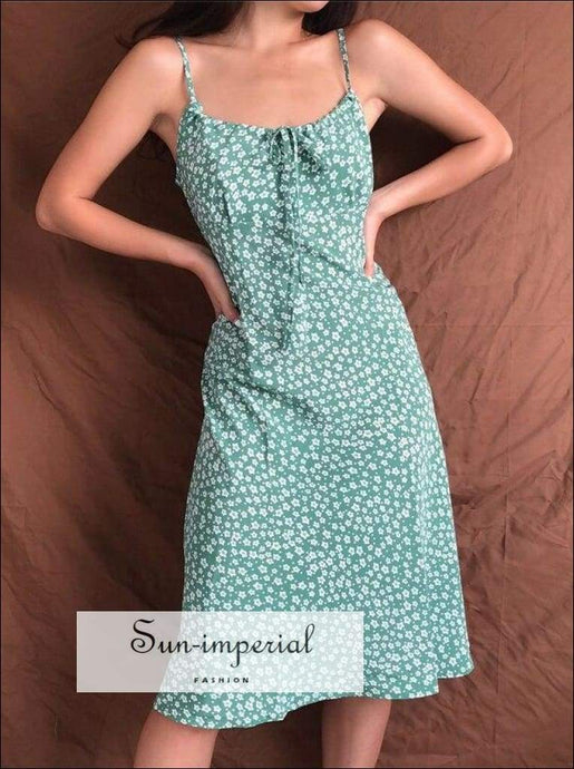 Sun-imperial Women Tie front Floral Print Midi Dress in Green High Street Fashion