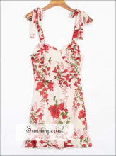 Sun-imperial Women Tie Strap Mini Dress Floral Sweetheart Neckline and Ruffle Edges Usa SUN-IMPERIAL United States