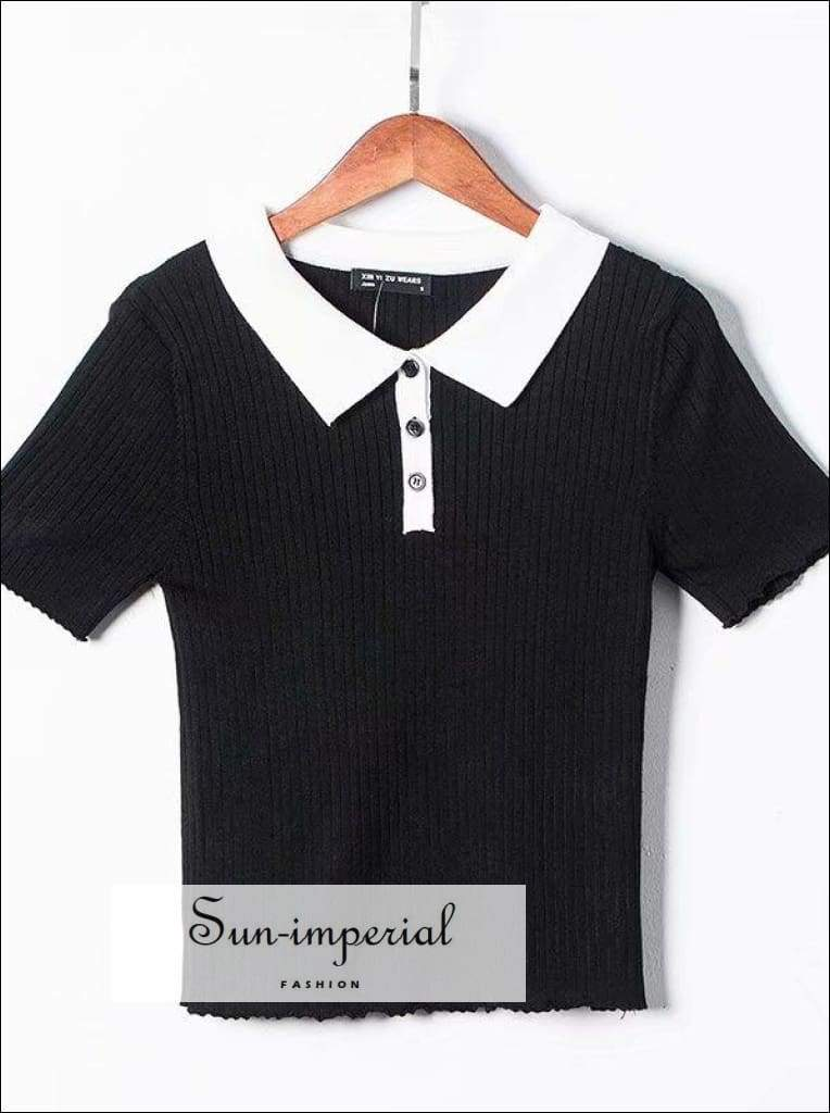 Sun-imperial Women Turn Down Collar Ribbed Knit top Long Sleeve Tee High Street Fashion SUN-IMPERIAL United States