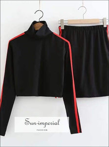 Sun-imperial Women Turtleneck Striped Crop T-shirt and Skirt Set High Street Fashion SUN-IMPERIAL United States