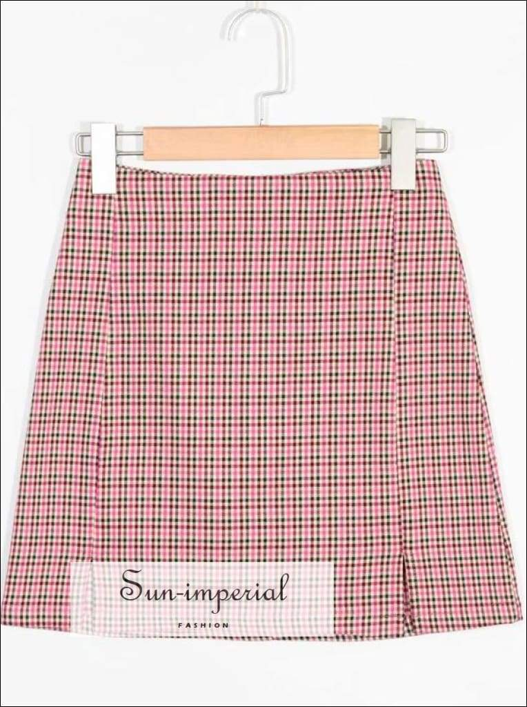 Sun-imperial Women Two Small front Slits Plaid Mini Skirt in Pink High Street Fashion