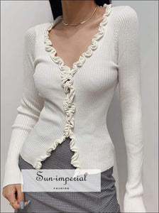 Sun-imperial Women White V Neck Frill Trim Knit Cardigans Vintage Knit Ribbed top with Fringing detail