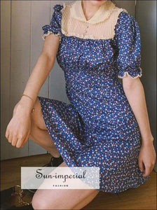 Sun-imperial Women Vintage Ditsy Floral Print Mini Dress with Lace Details in Blue High Street
