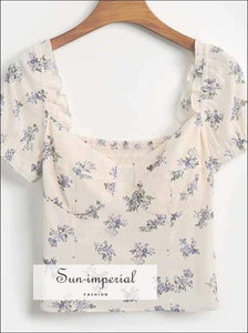 Sun-imperial Women White Elastic Blouse Sweet Square Collar Floral Print Short Tops Ruffles Short