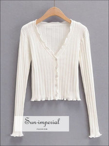 Sun-imperial Women White V-neck Ribbed Knit Cardigan with Ruffle Trims detail Basic style, chick sexy street vintage style SUN-IMPERIAL
