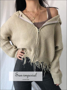 Sun-imperial Women Zip up Knit Hooded Cardigan with Raw Hem Rib Crop Knit Hooded top High Street