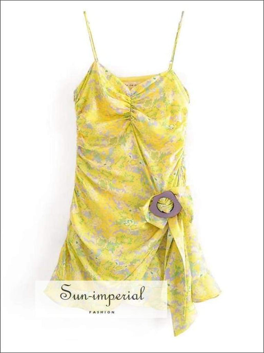 Sun-imperial Yellow Floral Print Cami Strap Ruffle detail Sling Mini Dress Ruched Hem Vintage Dress
