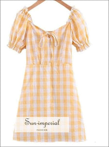 Sun-imperial Yellow Plaid Dress Women Elegant Korean Fashion Summer Dresses Beach Puff Sleeve