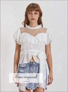 Tennessee top - Polka Dot Chiffon Blouse Zipper Ruffled Collar Patchwork Bow top