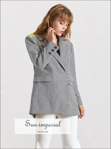 Texas Coat -plaid Elegant Blazer for Women Lapel Collar Long Sleeve Button over Size Coat F