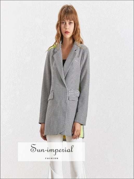 Texas Coat -Plaid Elegant Blazer For Women Lapel Collar Long Sleeve Button over Size Coat F Big Size Lapel Collar Long Sleeve Plaid Elegant