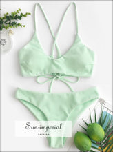 Textured Criss Cross Cami Bikini Swimwear