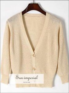 Three-quarter Sleeve Bright Silk Bow Tie Pearl Buttons Knitted Sweater V Neck Cardigan