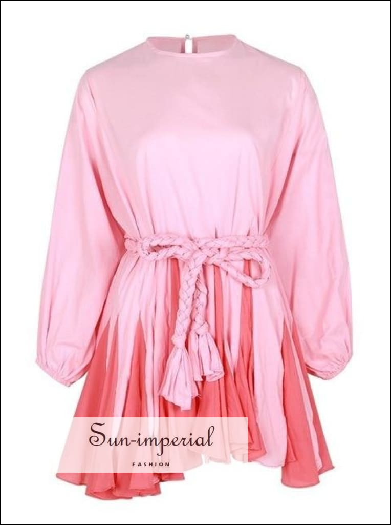 Tia Dress in Pink - Women Spring A-line tie dye Dress O Neck Puff Sleeve Casual Casual Fashion Color Print Dresses Long Sleeve O Neck
