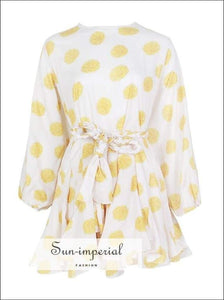 Tia Dress in Sunrise -vintage White Dress with Yellow Floral Print Dress Long Sleeve O Neck High