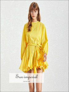 Tia Dress in Yellow - Women Spring A-line Tie Dye O Neck Puff Sleeve Casual Long Sleeve, Neck, Solid Dresses Ladies, vintage, SUN-IMPERIAL