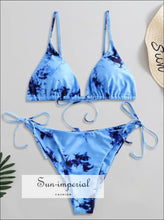 Tie Dye String Bikini Swimsuit - Day Sky Blue