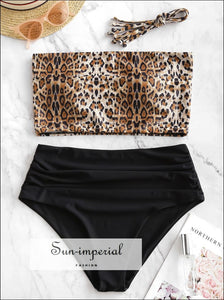 Tie Leopard Ruched Tankini Swimsuit SUN-IMPERIAL United States