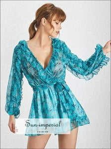 Tiffany Jumpsuit - Casual Print Women V Neck Long Sleeve High Waist Ruffles Loose Print, Waist, Sleeve, Vintage, SUN-IMPERIAL United States
