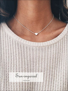 Tiny Heart Necklace for Women SHORT Chain Heart Shape Pendant Necklace SUN-IMPERIAL United States