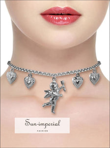 Titanium Stainless Steel Love Angel Wing Heart Bell Clavicle Chain Necklace SUN-IMPERIAL United States