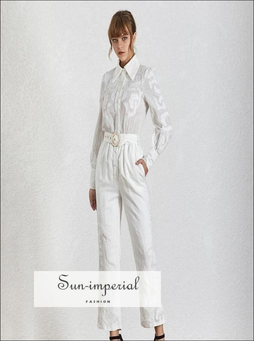 Toulouse Jumpsuit - Women Solid white belted Jumpsuit Lapel Long Sleeve High Waist Slim Fashion Clothes High Waist Lapel Long Sleeve vintage