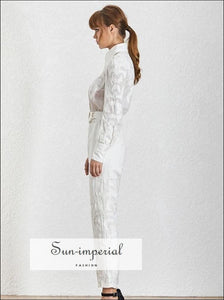 Toulouse Jumpsuit - Women Solid White Belted Lapel Long Sleeve High Waist Slim Fashion Clothes, Waist, Sleeve, vintage, SUN-IMPERIAL United