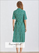 Tours Dress - Green Floral Vintage Print Warp Dress for Women V Neck Short Sleeve High Waist Slim a